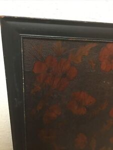 Vintage Carved Wood Handmade Primitive Rustic Floral Flower Picture W/Frame