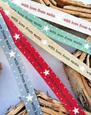1m x 15mm BERISFORDS CHRISTMAS RIBBON RUSTIC SCANDI, STAR WITH LOVE FROM SANTA