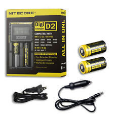 Nitecore Digi Charger D2 w/2x NL166 RCR123A Batteries +Car & Wall Adaptor