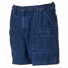 New Croft & Barrow Men's Side-Elastic Denim Cargo Shorts Size 32 Medium Denim