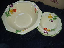 Midwinter porcelon Burslem Tulip pattern art deco hexagonal salad/fruit bowl