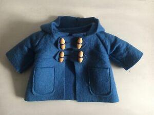 "GENUINE1980s GABRIELLE DESIGNS  14"" PADDINGTON BEAR MID BLUE DUFFLE COAT EX COND"