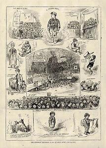 Life of 1875 NEW YORK NEWSBOYS NEWS BOYS NEWSIES Day of Jolly Sport Cartoon