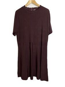 H&M Ladies Dress Size XXL Aubergine Purple Brown Colour Pleated Skirt NWT