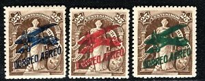 URUGUAY Early Air Mail 25c Stamps{3} 3 Colour Overprints(1921) Mint MM GGREEN104