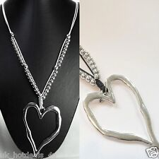 Two Large Silver Chunky Heart Pendant Costume Jewellery Long Necklace Designs Bkack Cord Chain