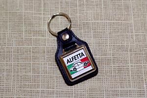 Alfa Romeo Alfetta Keyring - Leatherette & Chrome Keyfob