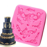 Silicone Baroque Sculpted Flower Lace Fondant Mould Cake Sugar Icing Mold KV