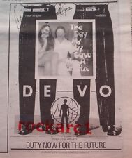 DEVO Duty Now for The Future (surprise) 1979 UK Press ADVERT 10x8 inches