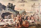 17th CENTURY HUGE ITALIAN OLD MASTER OIL - BACCHANALIA FEAST FAWNS & CENTAURS