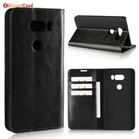 Luxury Genuine Leather Wallet Flip Case Stand Cover For LG V30