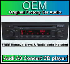 Audi A3 CD player, Audi Concert car stereo head unit Supplied with radio code