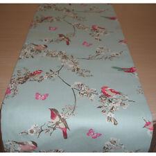 """36"""" Small Table Runner 90cm Pink Blue Beautiful Birds Butterflies Blossom 3ft"""