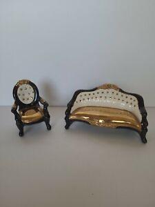 VINTAGE 1960's Elegant Sofa & Chair Porcelain Dollhouse Furniture