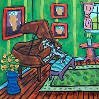 schnauzer piano dog picture gift pet art tile coaster
