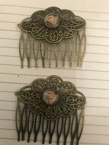 (2) Retro Frida Kahlo  Flowers Victorian Vintage Filigree Hair Combs