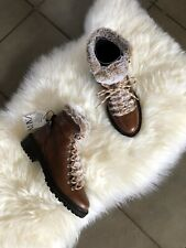 Zara Brown Leather Flat Lace Up Mountain Ankle Boots UK7 EU40 US9 # 694