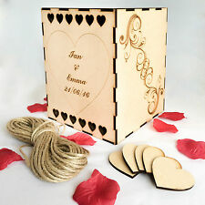 Personalised Wooden Wedding Box Wish Well With 50 x 40mm Hearts
