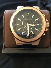 Michael Kors Rose Gold Tone Silicone Rubber Men's Watch + Box