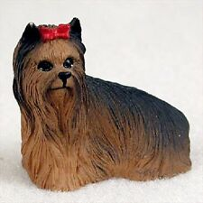 YORKIE w/ bow TiNY DOG Figurine HAND PAINTED MINIATURE Statue YORKSHIRE TERRIER