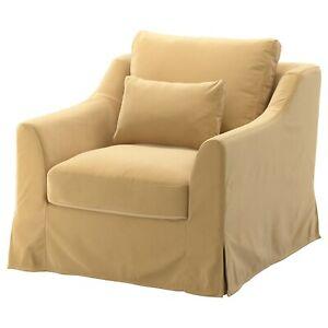 IKEA FARLOV Velvet Armchair Cover DJUPARP Yellow- Beige Slipcover 703.066.67 NEW