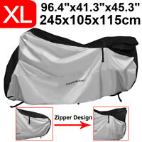 XL Heavy Duty Waterproof Motorcycle Motorbike Cover Outdoor Protector w/ Zipper