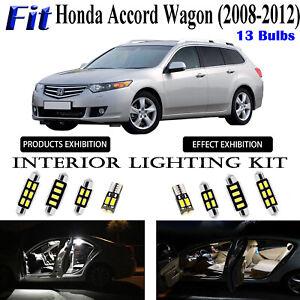 13 Bulbs Super White LED Interior Light Kit For Honda Accord Wagon 2008-2012