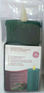 """GE Stay Bright 6"""" LED Pillar Candle Christmas Holiday Battery Operated - Green"""