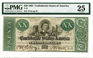 1861 $20       Confederate  Currency  T-21    PMG 25