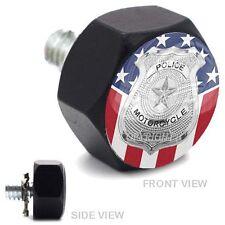 Vivid Black Billet Hex Air Cleaner Bolt Harley - POLICE BADGE USA FLAG - 169