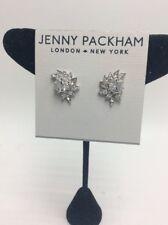 $40 jenny Packham silver tone crystal flower stud earrings J41