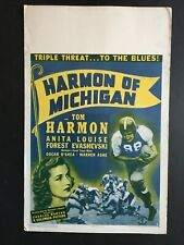 HARMON OF MICHIGAN '41 MICHIGAN WOLVERINE FOOTBALL LEGEND UNRESTORED WINDOW CARD