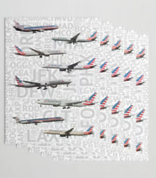 American Airlines Aircraft with Airport Codes - Gift Wrapping Paper