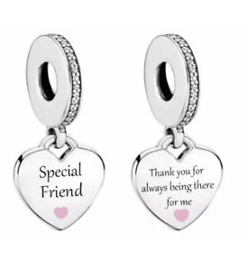 SPECIAL FRIEND CHARM THANK YOU FOR BEING THERE 925 STERLING SILVER GIFT 💜💛💜