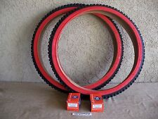[2] BICYCLE 24'' X 2.10 BLACK & RED MOUNTAIN BIKE TIRES  &  [2] TUBES  MTB, ETC.