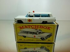 LESNEY MATCHBOX 54 S&S CADILLAC AMBULANCE - WHITE - GOOD CONDITION IN BOX