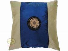 blue + cream Satin Cushion Cover/Pillow Case Hmong Miao Nationality SUN design