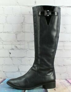 COLE HAAN Women's Black Leather Tall Knee High Side Zip Boots Size 6 B