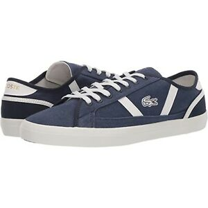 Lacoste Mens Sideline Canvas Croc Logo Casual Shoes Size 13 Navy Blue White New
