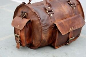 Vintage Men Leather Overnight Luggage Duffle Weekender Round Gym Bag Carry On