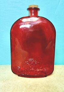 Dark Red Square Bottle Decoration Display Cork Stopper Glass