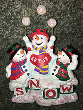 3 Snowmen With Blocks Christmas Figurine The San Francisco Music Box Company New