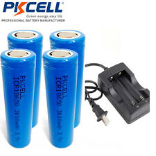 PKCELL 18650 Vape Mod Battery and Charger - 4 piece Real 3000mAh + Smart Charger