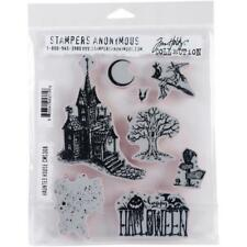 "Tim Holtz Stampers Anonymous ""HAUNTED HOUSE"" Halloween Rubber Cling Stamp Set"