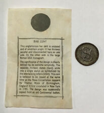 Bar Cent Replica Coin With Information Sheet, From 1950's Collector Set