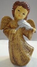 Vintage Christmas Orchestral Angel Girl Figurine Composite Paper Mache Gold