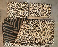 Vintage Leopard Duvet Cover & Shams Set Animal Print Bedding Cotton Size KING