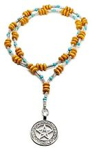 Witches Ladder Prayer Beads Necklace Turquoise Gemstone Wood Pentacle Necklace