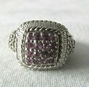 Judith Ripka Sterling Silver Pink Sapphire Pave' & Diamonique Ring Size 8