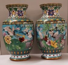 Vintage Pair of Chinese Cloisonne Enamel Vases With Fabulous Birds Excellent